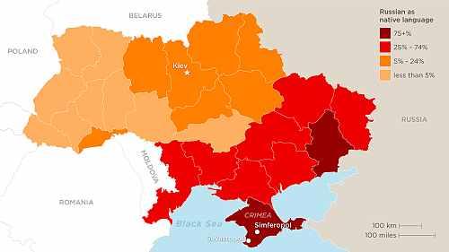 Harta Ucraina limba materna